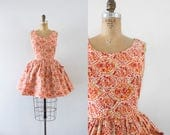 1960s World Of Wonder floral cotton mini dress / 60s cotton flare