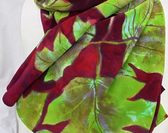 silk scarf hand painted Bold Color unique rich red green apple luxury crepe large long luxury wearable art women fashion spring