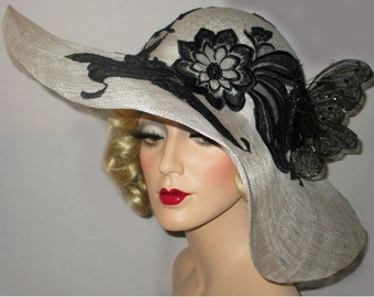 The SOCIAL BUTTERFLY Kentucky Derby Hat, Black & White Derby Hat, Extra Wide Brim Sinamay Picture Hat, Black Lace And WhiteTea Party Hat
