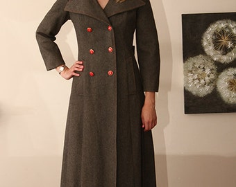 gorgeous wool military style pea coat grey with red buttons
