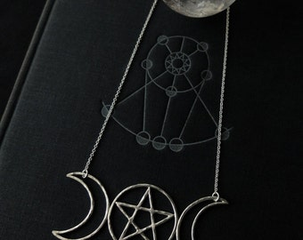 Esbat II - Triple-Moon Totem with Pentacle (sterling silver) represents feminine energy, growth, evolution. Mystery & psychic abilities