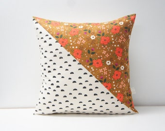 Patchwork Pillow Cover, 20x20, Black and cream  / retro floral
