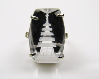 Japanese Rock Quartz Faceted Crystal Ring. Carved Etched Intaglio Pagoda Ring. 1930s Art Deco Ring. Sterling Silver Japan. Size 5.5