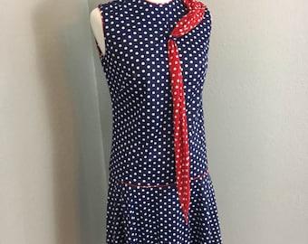 Vintage 1960s firecracker red white and blue polka dot dropped waist dress sz S M