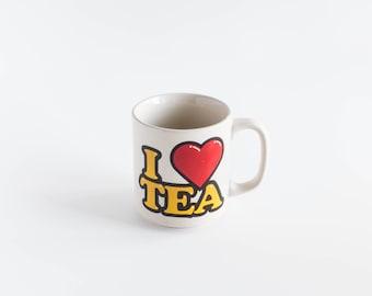 Vintage I Love Tea Mug Coffee Cup 1980s Art Mug Kitsch Tealover Gift Beaker