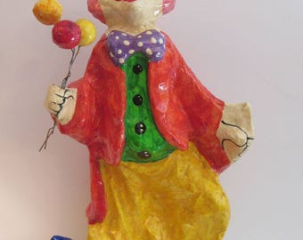 Large Papier Mache Clown with Balloons - Pink Haired Smiling Clown with Balloon Bouquet - Unsigned Mid Century Mexican Souvenir