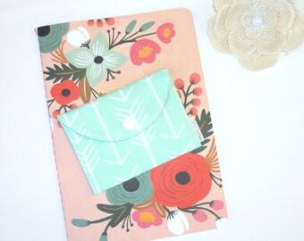 Pouch. Tea Bag Wallet / Holder. Jewelry Case. Arrows on Mint. Geometric. Southwest