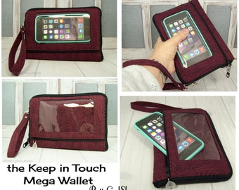 Phone Case Wallet • iPhone Wallet Case • Cell Phone Wristlet Case • burgundy moire OWLS interior • Keep in Touch MEGA Wallet  • (7e)