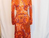 Vintage 70's Dress, Psychedelic Floral Print Dress With Ruffled Neck, XS