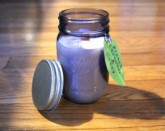 French Lavender and Honey Soy Candle - Soy Wax - Woodwick - Plantable Tag - Wildflower Seed Tag - 16 oz. Soy Candle - Ball Jar Candle