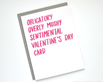 Valentine Card - Funny Valentine's Day Card - Obligatory Valentines Day Card