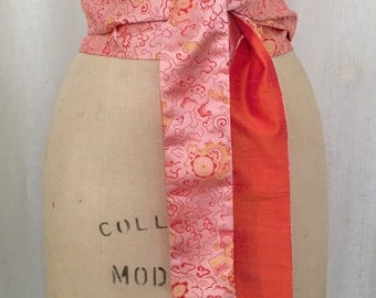 Blush Pink Asian Brocade Obi Sash