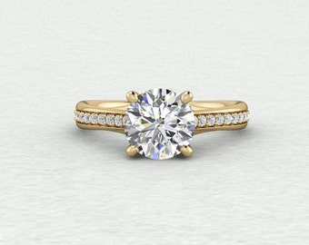 7.5mm Round Forever One Moissanite Filigree and Accent Solitaire Engagement Ring LCDH044