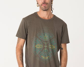Festival Clothes, Mens tshirt, Screenprinted, Psychedelic Shirt, Psy clothing, Burning Man Men, SOL, S / M / L / Xl