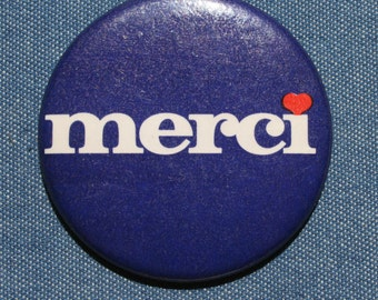 1970s Merci Thank You Pin Back Button 70s Quebec French Blue Red White Canada Badge