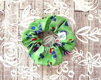 Legend of Zelda Scrunchie - Green Video Game Scrunchy / Zelda Pattern / Illustrated Fabric Elastic / Large Cotton Srunchie / Geek Girl Gift