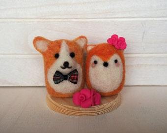 Corgi and Fox Wedding Cake Topper Fox bride Corgi groom Cake topper interracial couple