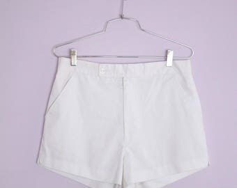 Vintage 1980's White Sportswear Tennis Shorts M