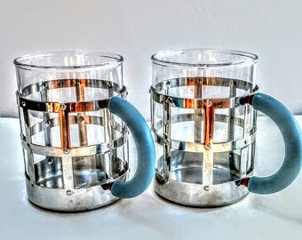 Vintage Glass Mug With Polished Steel Frame by Michael Graves for Alessi, Two Mugs,Made in Italy