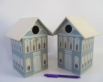 Bird House, Vintage Wooden Blue White Two Story, Feathered Friends Patio Yard Deck Garden Art
