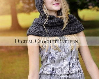 Crochet Pattern / Hat Pattern / Cowl Pattern / The Hooded Cowl Pattern 030 / Pixie Hat Pattern