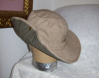 Vintage Khaki Aussie Outback Safari Style Boonie Hat w Stampede Strings Large Only 8 USD