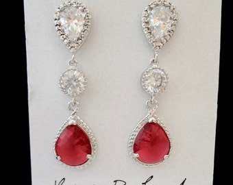 Ruby red earrings - Bridal earrings, Teardrops, Sparkling Cubic zirconias - Sterling silver posts - Ruby read wedding earrings -