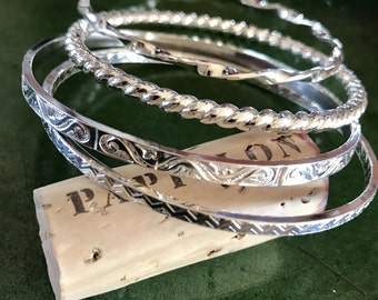 Solid Sterling Silver Bangle Set - 4 Unique, Patterned Bangles - Custom Sizes and Options, Collectible and Stackable