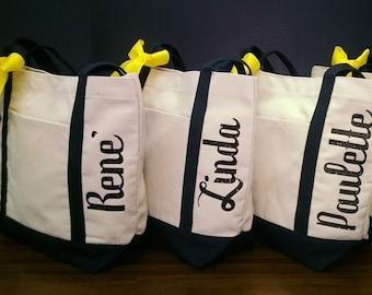 Set of 6 Bridesmaid Bag Canvas Tote Bags Bridesmaid Tote Bags Shimmer Vinyl Names