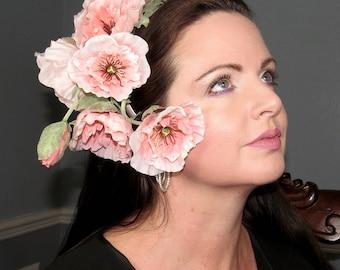 ART NOUVEAU GRACE Fantasy Floral Headdress Pink Poppies Hair Adornment ooak