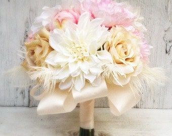 Bridal Bouquet Pink, Beige, Champagne Peonies, Roses, Dahlias and Feathers - Floral Bouquet