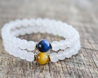 Bead Bracelet Set • Couples Bracelets • Distance Bracelets • Friendship Bracelets • Tiger Eye • Stacking Bracelets • Jewelry Set • Gifts