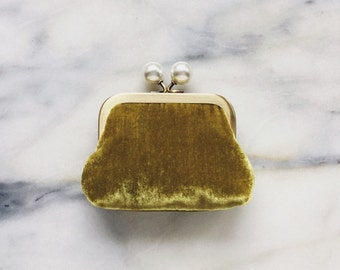 Coin Purse - Silk Velvet - Olive Green Coin Purse With Knobs - Handmade - Green