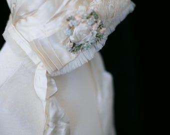 1800s Antique Silk Bonnet - 19th Century French Child's Bonnet. Infant Hat. Floral Bonnet, Lace Silk Cap