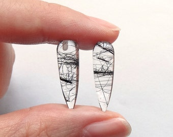 Black Tourmalinated Quartz Smooth Spike Icicle Drops 6x20 mm One pair G6040