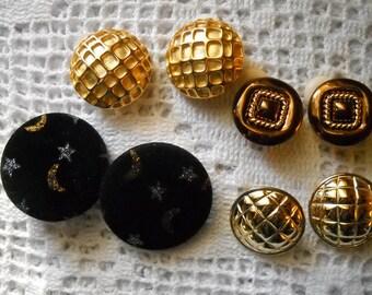 Vintage Earring Lot, 4 Pair of Clip on Earrings, NOS Jewelry, Round Gold Earrings, Large Black Velvet Earrings, Ornate Clip Back Craft Lot