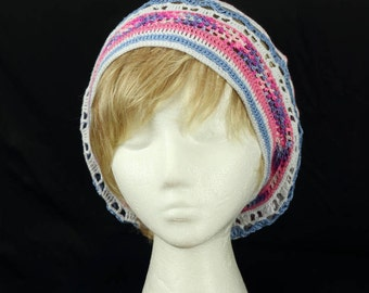 Women lightweight beanies Crochet slouchy beret Colorful summer chemo cap Boho hippie hat Pink blue lace slouch hat Cotton chemo headwear