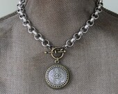 Chanel Necklace, Chunky Jewelry Chanel, silver & gold Mixed Metal Necklace Chunky, Chanel Button Jewelry veryDonna