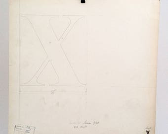 Letter cap X, industrial drawing, original font casting drawing, typographic drawing: Select 1 drawing. 1932/1967.