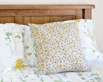 Cherry Blossom Decorative Throw Cushion, Yellow Floral Cushion Cover, Throw Cushion, Pillow, Decorative Cushion