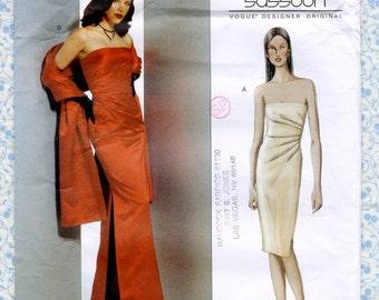 Vogue 2481 Designer Dress Sewing Pattern Strapless Long Evening Gown & Stole Womens Size 14 16 18 Bust 36 38 40 Bellville Sassoon UNCUT