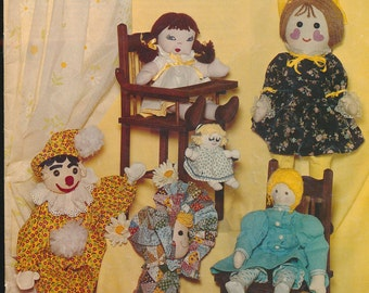 vintage pattern book for making a variety of cloth dolls, 1970's