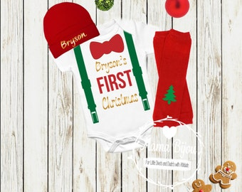 My First Christmas Baby Boy Clothes Outfit My 1st X-Mas Bodysuit Bow Tie Suspenders Baby Boy Christmas Gift Chirstmas Boy