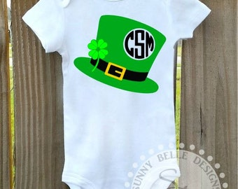 Personalized St. Patrick's Day Onesie. Leprechaun Hat Bodysuit; My First St. Patrick's Day Infant Bodysuit