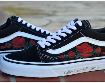 Custom Hand Drawn Sharpie Rose Design Vans Shoes