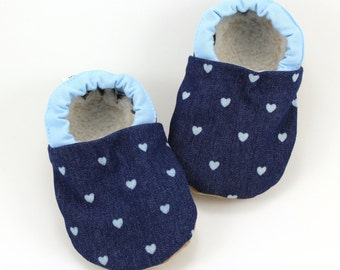 denim baby shoes, girl heart booties, navy blue shoes, soft sole booties, clothing with hearts, toddler slippers, elastic shoes, baby girl
