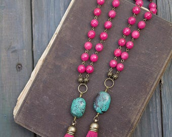 Hot pink necklace Pink tassel necklace Turquoise pendant necklace Pink beaded necklace boho Long pink necklace Genuine turquoise jewelry