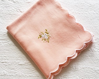 Vintage Romantic Home Peach Blush, Snow White, and Celadon Green Floral Embroidered Table Linen, Olives and Doves