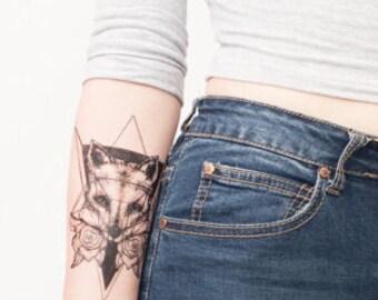 Geometric Fox Temporary Tattoo - Fox Tattoo - Fox - Fox and Rose Temporary Tattoo