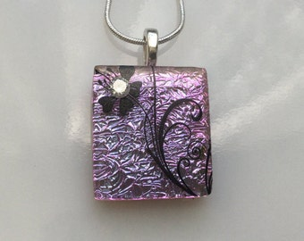 Pink Dichroic Glass Flower Pendant, Fused Glass Jewelry, Pink Dichroic Necklace with Cubic Zirconia